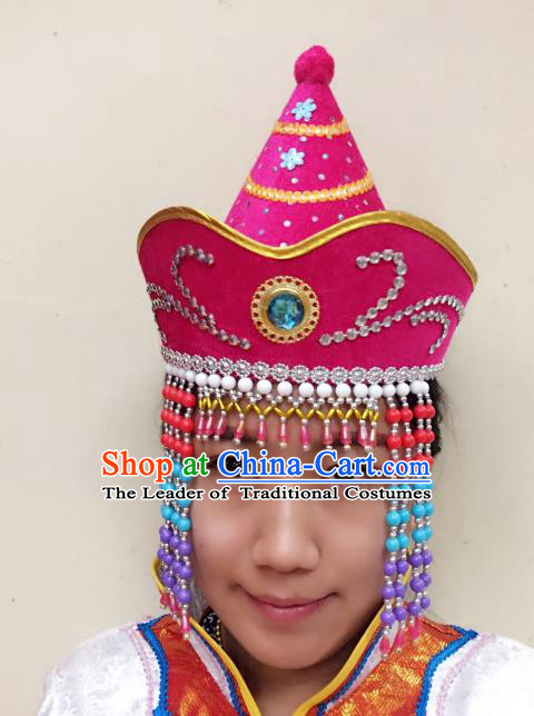 Traditional Handmade Chinese Mongol Nationality Dance Rosy Headwear Princess Hat, China Mongols Mongolian Minority Nationality Bride Tassel Headpiece for Women
