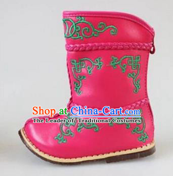 Traditional Chinese Minority Mongol Nationality Dance Shoes, Ethnic Minorities Mongolian Boots Pink Embroidery Boots for Kids