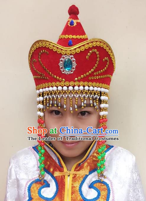 Traditional Handmade Chinese Mongol Nationality Dance Red Headwear Bride Hat, China Mongols Mongolian Minority Nationality Princess Tassel Headpiece for Women