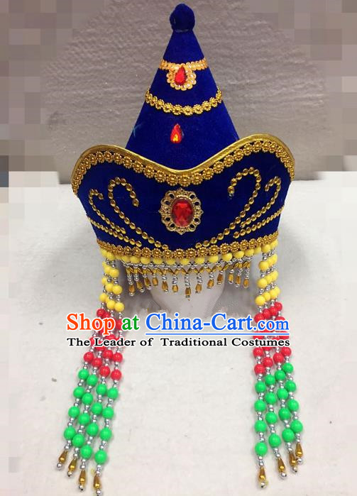 Traditional Handmade Chinese Mongol Nationality Dance Blue Headwear Bride Hat, China Mongols Mongolian Minority Nationality Princess Tassel Headpiece for Women