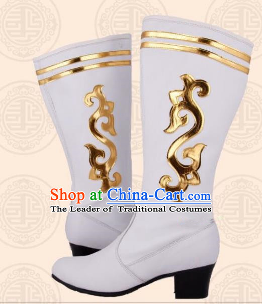 Traditional Chinese Minority Mongol Nationality Ethnic Minorities Mongolian Boots White Wedding Boots for Women