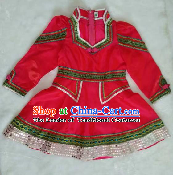Traditional Chinese Mongol Nationality Dance Costume Handmade Mongolian Robe, China Mongolian Minority Nationality Red Dress for Kids