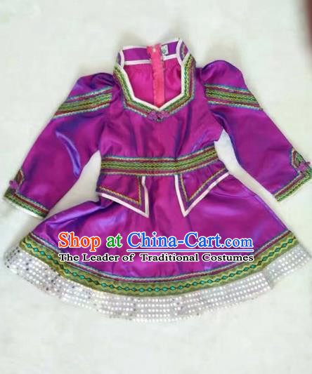 Traditional Chinese Mongol Nationality Dance Costume Handmade Mongolian Robe, China Mongolian Minority Nationality Purple Dress for Kids