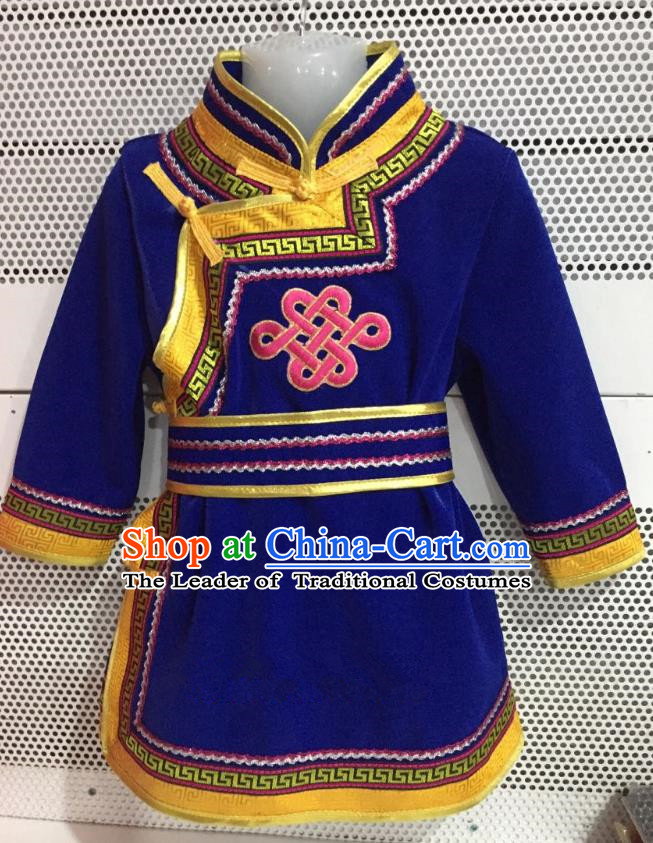 Traditional Chinese Mongol Nationality Dance Costume Handmade Embroidery Mongolian Robe, China Mongolian Minority Nationality Royalblue Dress for Kids