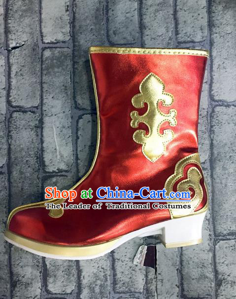 Traditional Chinese Minority Mongol Nationality Dance Red Shoes, Ethnic Minorities Mongolian Boots Embroidery Boots for Kids