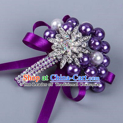Top Grade Wedding Accessories Decoration Pearl Corsage, China Style Wedding Ornament Champagne Bride Bridegroom Purple Ribbon Crystal Brooch