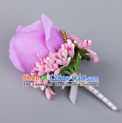 Top Grade Wedding Accessories Decoration Flower Corsage, China Style Wedding Ornament Champagne Bridegroom Champagne Lilac Brooch