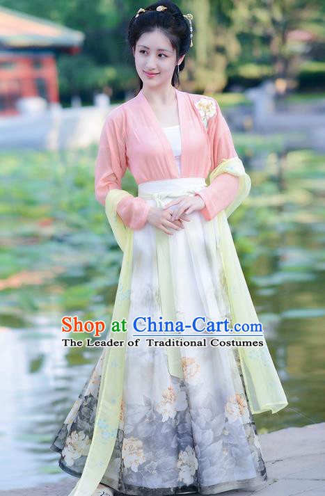 Traditional Ancient Chinese Costume Ming Dynasty Young Lady Blouse and Dress, Elegant Hanfu Clothing Chinese Palace Princess Printing Costume for Women