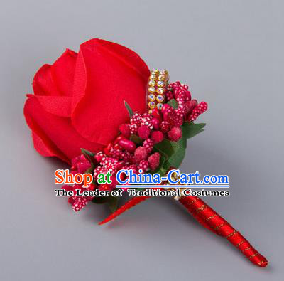 Top Grade Wedding Accessories Decoration Flower Corsage, China Style Wedding Ornament Champagne Bridegroom Red Rose Brooch