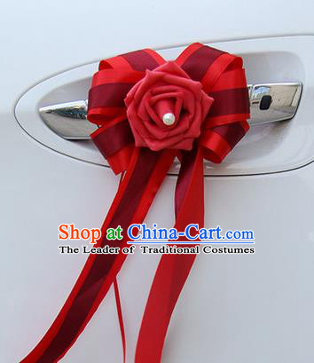 Top Grade Wedding Accessories Decoration, China Style Wedding Car Bowknot Flowers Bride Red Long Ribbon Garlands Ornaments