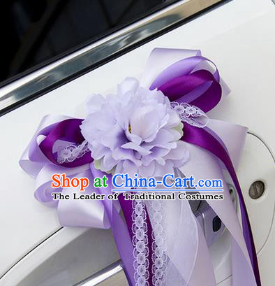 Top Grade Wedding Accessories Decoration, China Style Wedding Car Ornament Bowknot Flowers Bride Purple Silk Ribbon Garlands
