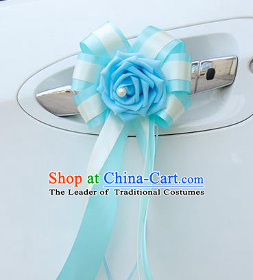 Top Grade Wedding Accessories Decoration, China Style Wedding Car Bowknot Blue Flowers Bride Long Ribbon Garlands Ornaments