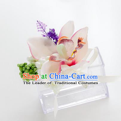 Top Grade Classical Wedding Bacca White Silk Flowers,Groom Emulational Corsage Groomsman Brooch Flowers for Men
