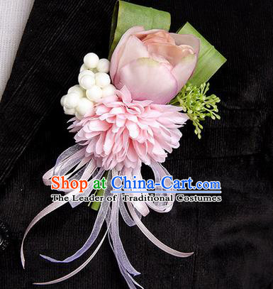 Top Grade Classical Wedding Champagne Silk Tulipa Flowers,Groom Emulational Corsage Groomsman Brooch Flowers for Men