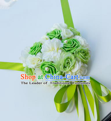 Top Grade Wedding Accessories Decoration, China Style Wedding Car Bowknot Green Rose Flowers Ribbon Garlands Ornaments