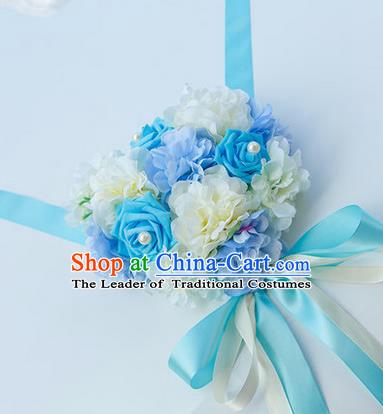 Top Grade Wedding Accessories Decoration, China Style Wedding Car Bowknot Blue Rose Flowers Ribbon Garlands Ornaments