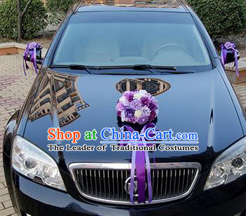 Top Grade Wedding Accessories Purple Ball-flower Decoration, China Style Wedding Car Ornament Ribbon Flowers