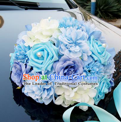 Top Grade Wedding Accessories Blue Ball-flower Decoration, China Style Wedding Car Ornament Ribbon Flowers