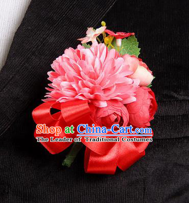 Top Grade Classical Wedding Red Ribbon Silk Flowers,Groom Emulational Corsage Groomsman Brooch Flowers for Men
