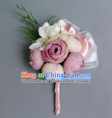 Top Grade Classical Wedding Pink Silk Flowers,Groom Emulational Corsage Brooch Flowers for Men