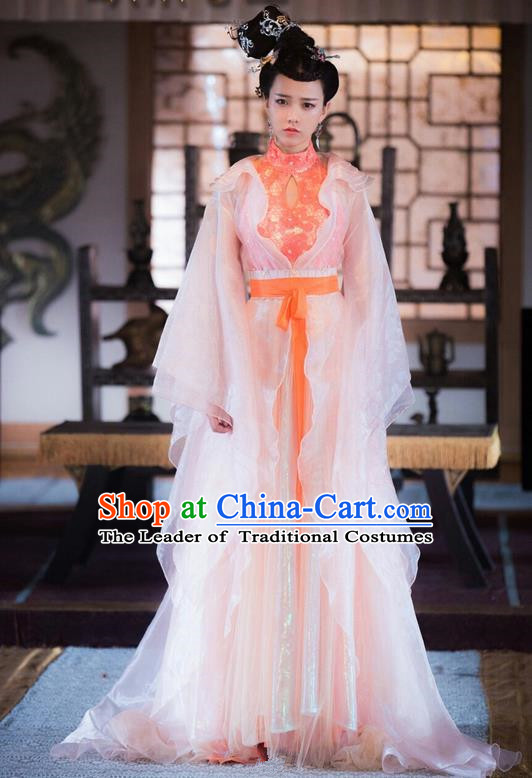 Traditional Ancient Chinese Imperial Princess Costume and Handmade Headpiece Complete Set, Chinese Ming Dynasty Peri Hanfu Dress Clothing for Women