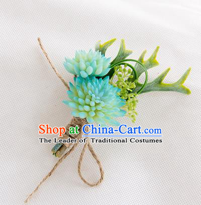 Top Grade Classical Wedding Succulents Flowers,Groom Emulational Corsage Groomsman Blue Brooch Flowers for Men