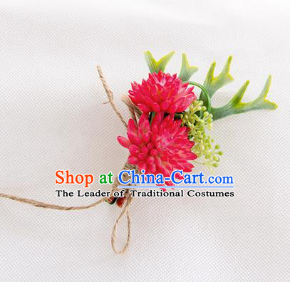 Top Grade Classical Wedding Succulents Flowers,Groom Emulational Corsage Groomsman Rosy Brooch Flowers for Men