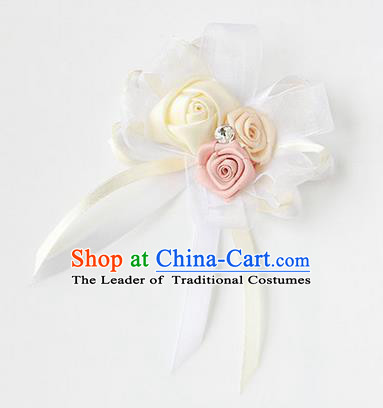 Top Grade Classical Wedding Ribbon Flowers, Bride Emulational Corsage Bridesmaid White Bowknot Brooch Flowers for Women
