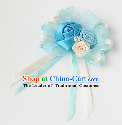 Top Grade Classical Wedding Ribbon Flowers, Bride Emulational Corsage Bridesmaid Light Blue Bowknot Brooch Flowers for Women