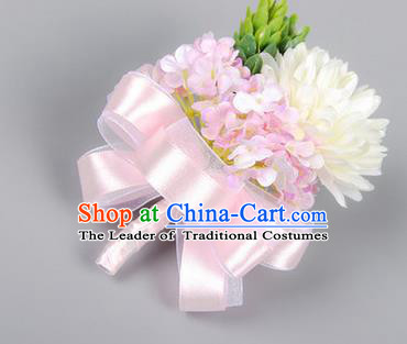 Top Grade Classical Wedding Pink Ribbon Flowers, Bride Emulational Corsage Bridesmaid Brooch Flowers for Women