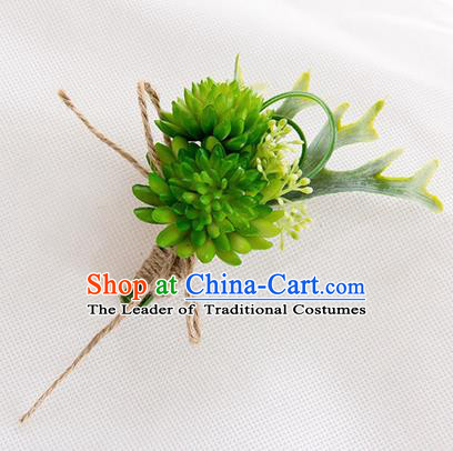 Top Grade Classical Wedding Succulents Flowers,Groom Emulational Corsage Groomsman Green Brooch Flowers for Men