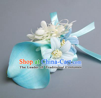Top Grade Classical Wedding Blue Silk Common Callalily Flowers,Groom Emulational Corsage Groomsman Brooch Flowers for Men