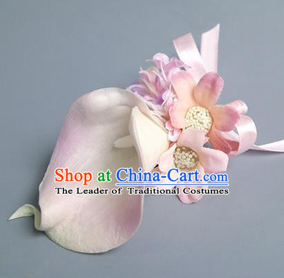 Top Grade Classical Wedding Pink Silk Common Callalily Flowers,Groom Emulational Corsage Groomsman Brooch Flowers for Men