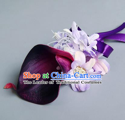 Top Grade Classical Wedding Purple Silk Common Callalily Flowers,Groom Emulational Corsage Groomsman Brooch Flowers for Men