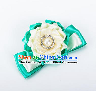 Top Grade Classical Wedding White Green Ribbon Silk Bangle Flowers, Bride Emulational Wrist Flowers Bridesmaid Bracelet Pearl Flowers for Women