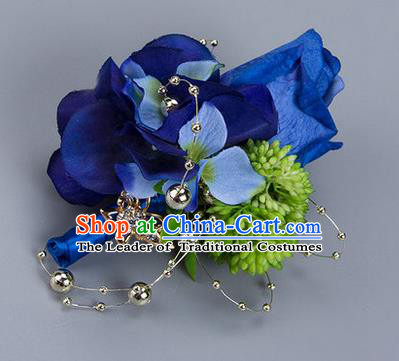 Top Grade Classical Wedding Blue Silk Flowers Brooch,Groom Emulational Corsage Groomsman Brooch Flowers for Men