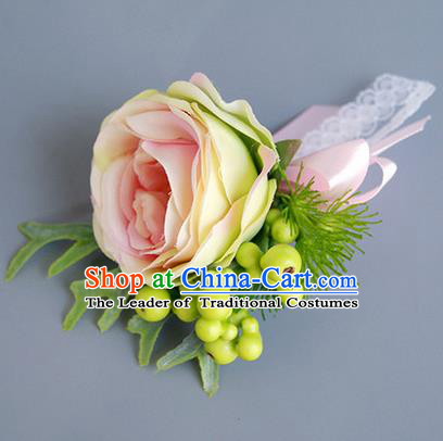 Top Grade Classical Wedding Champagne Rose Corsage Brooch, Bride Emulational Corsage Bridemaid Brooch Flowers for Women