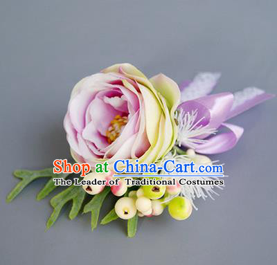 Top Grade Classical Wedding Pink Rose Corsage Brooch, Bride Emulational Corsage Bridemaid Brooch Flowers for Women