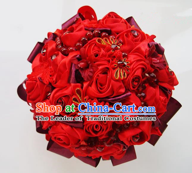Top Grade Classical China Wedding Extravagant Chinese Knot Rose Flowers Nosegay, Bride Holding Luxury Crystal Flowers Ball Hand Tied Bouquet Flowers for Women