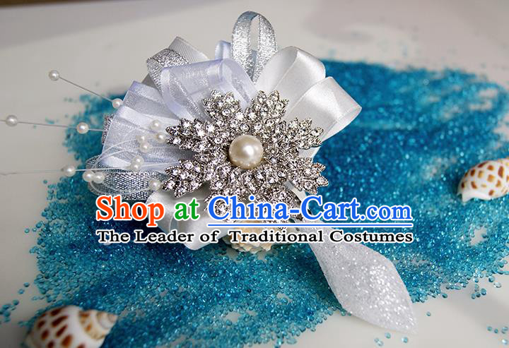 Top Grade Classical Wedding Crystal Corsage Brooch, Groom Bride Pearl Corsage Brooch Flowers