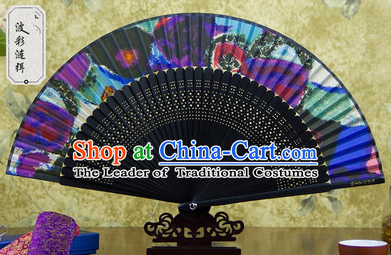 Traditional Chinese Crafts Colorful Folding Fan, China Sensu Silk Fan Hanfu Fans for Women