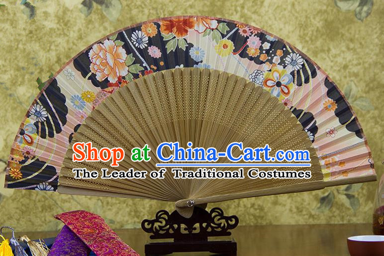 Traditional Chinese Handmade Crafts Pink Folding Fan, China Sensu Ink Painting Flowers Silk Fan Hanfu Fans for Women