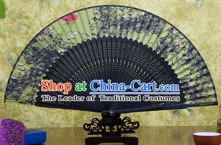 Traditional Chinese Handmade Crafts Black Folding Fan, China Sensu Printing Flowers Silk Fan Hanfu Fans for Women