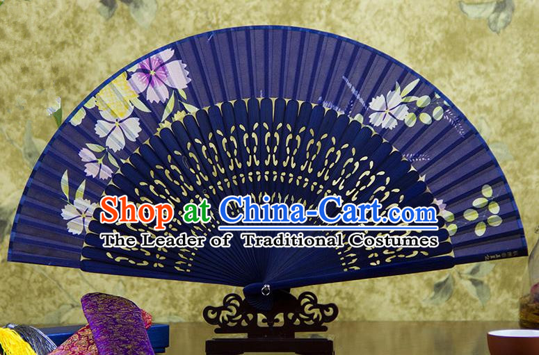 Traditional Chinese Handmade Crafts Deep Purple Folding Fan, China Sensu Printing Flowers Silk Fan Hanfu Fans for Women