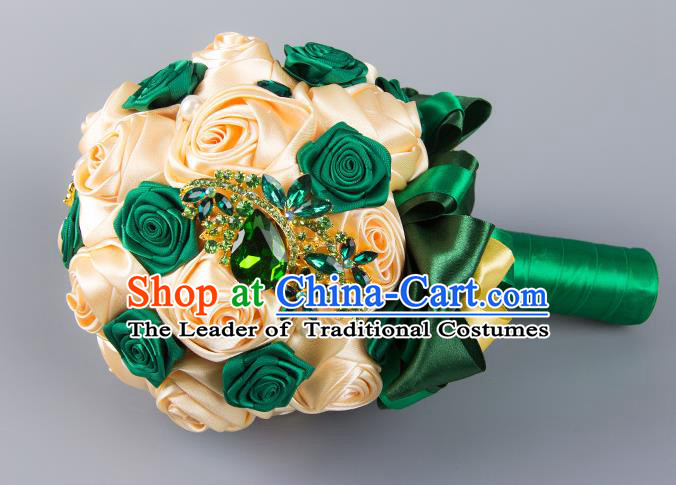Top Grade Classical Wedding Bride Champagne and Green Silk Rose Flowers Holding Emulational Flowers Ball, Hand Tied Bouquet Flowers for Women