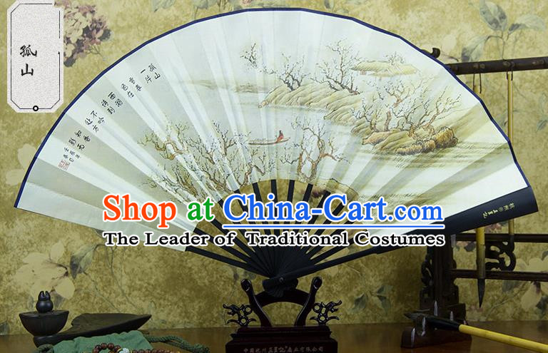 Traditional Chinese Handmade Crafts Ebonize Folding Fan, China Sensu Landscape Painting Silk Fan Hanfu Fans for Men