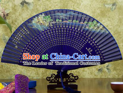 Traditional Chinese Handmade Crafts Folding Fan, China Sensu Painting Hangzhou West Lake Spring View Silk Fan Hanfu Fans for Women
