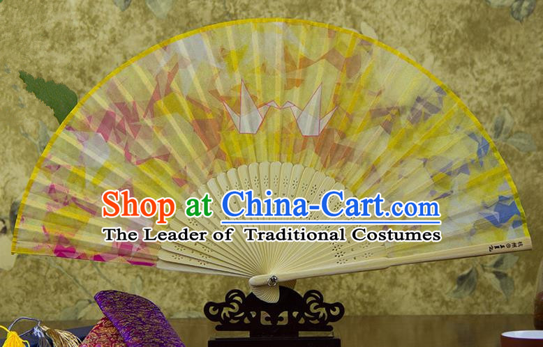 Traditional Chinese Handmade Crafts Folding Fan, China Printing Paper Crane Sensu Yellow Silk Fan Hanfu Fans for Women