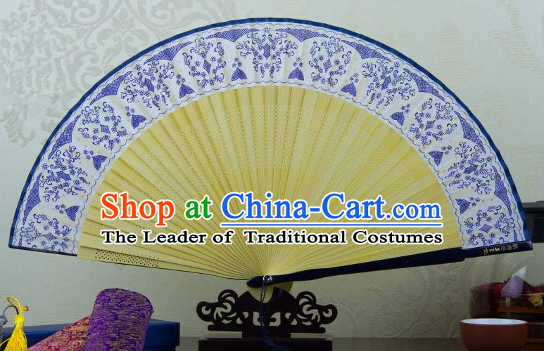 Traditional Chinese Handmade Crafts Folding Fan, China Printing Blue and White Porcelain Sensu Silk Fan Hanfu Fans for Women