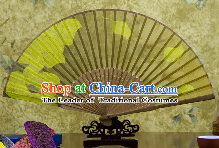 Traditional Chinese Handmade Crafts Folding Fan, China Printing Leaf Sensu Yellow Silk Fan Hanfu Fans for Women